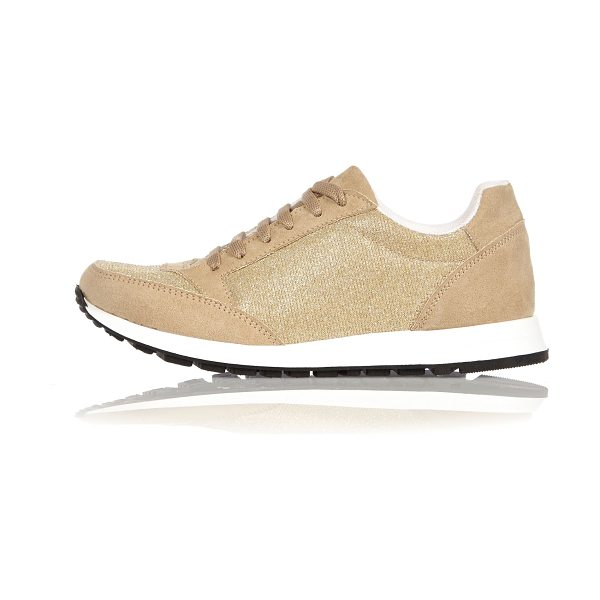 River Island gold glittery sneakers in gold - Faux suede Glittery design Rounded toe Lace-up front...