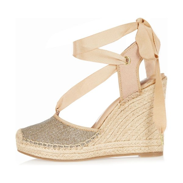 River Island gold lace-up espadrille wedges in gold - Metallic gold textile Rounded toe Grosgrain ribbon Woven...