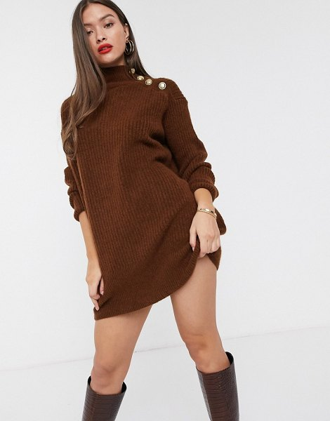 River Island high neck sweater dress with buttoned shoulder in toffee-brown in brown
