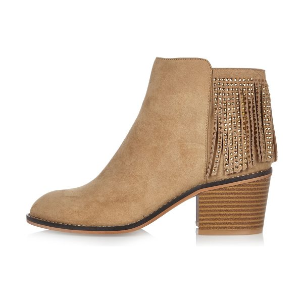 River Island light brown diamanté fringed boots in brown - Faux suede upper Diamanté embellishment Fringe trim...