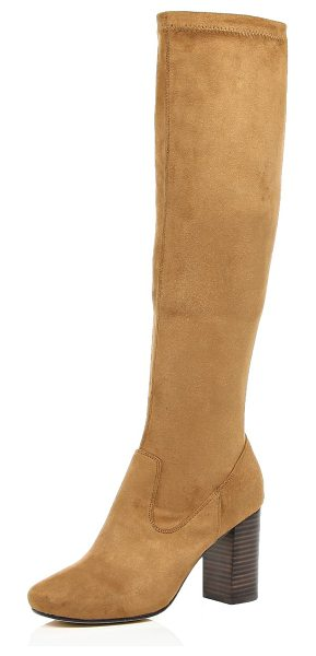 River Island light brown knee high heeled boots in brown - With a knee-high design, these faux-suede boots will...