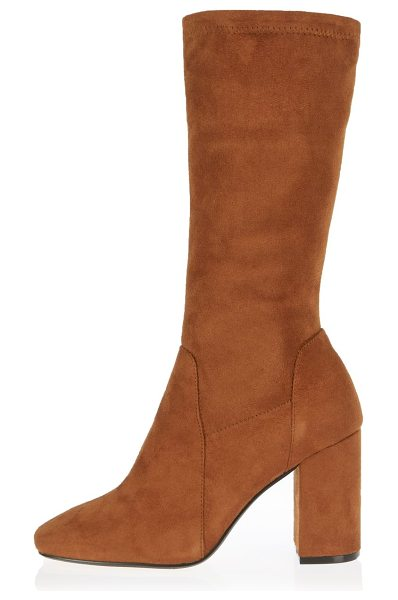 River Island light brown stretch calf high boots in brown - Stretchy faux suede upper Round toe Calf high length...