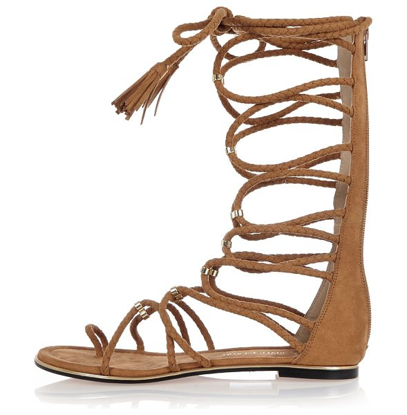 River Island light brown tie-up sandals in brown - Faux suede upper Tied-up design Mid calf sandal Metallic...