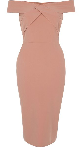 RIVER ISLAND light pink bardot bodycon midi dress - Stretch crepe Bodycon fit Off-the-shoulder bardot...