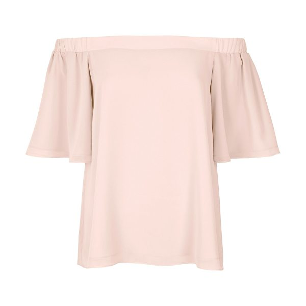 River Island light pink bardot top in pink - Relaxed fit Bardot neckline Frilly short sleeves Our...