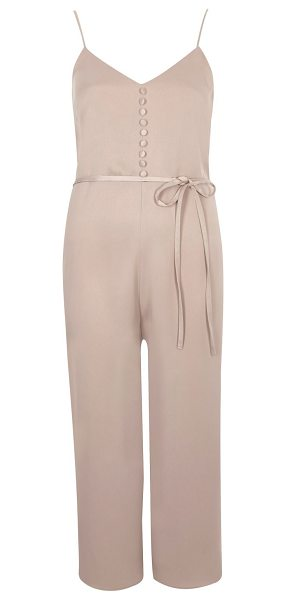 River Island light pink buttoned cami culotte jumpsuit in pink - Soft woven fabric Button detail along chest Dipped...