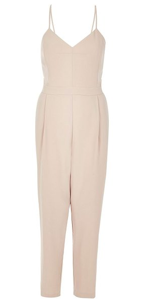 River Island light pink cami jumpsuit in pink - Woven Cami neck Sleeveless Our model wears a UK 8 and is...