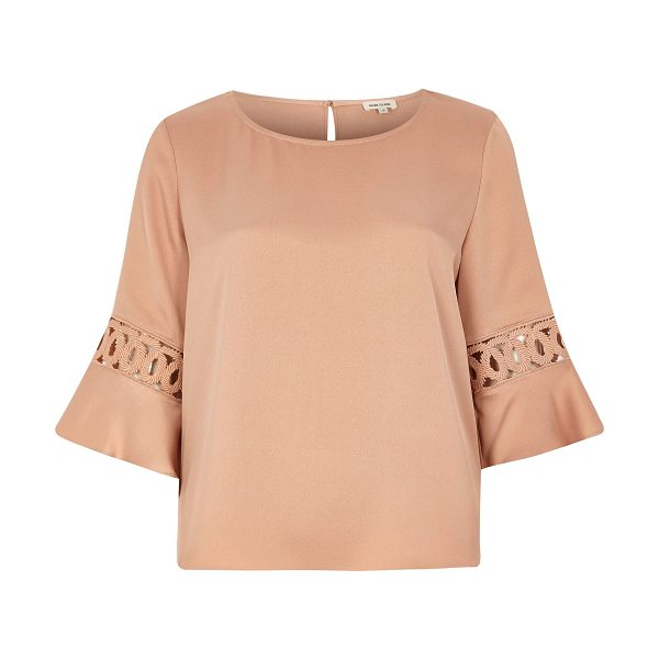 RIVER ISLAND light pink crochet flute sleeve top - Smart crepe fabric Relaxed fit Round neckline Crochet...