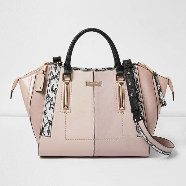River Island light pink dipped top winged tote bag in pink - Leather look fabric Dipped top with wing detail...