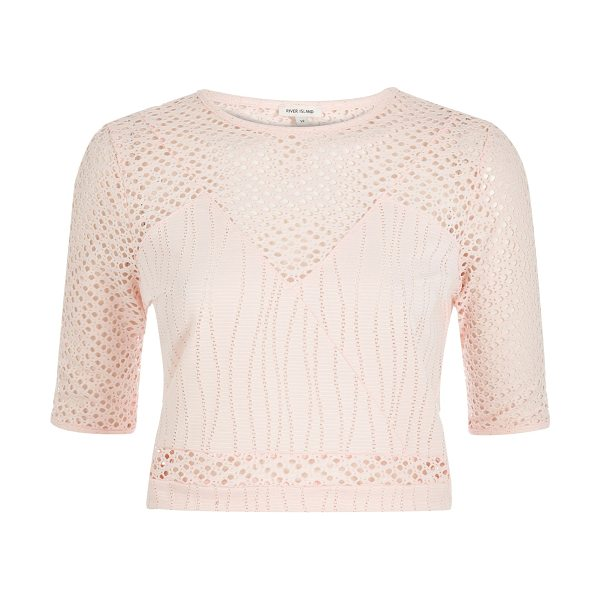 River Island light pink embroidered mesh crop top in pink - Mesh and jersey Fitted Cropped Crew neck Mid sleeve Our...