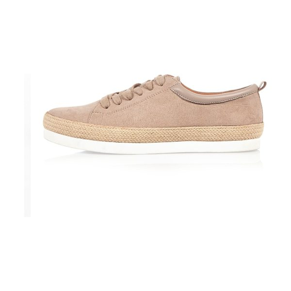 RIVER ISLAND light pink espadrille lace-up sneakers - Faux suede upper Round toe Lace-up fastening Layered...