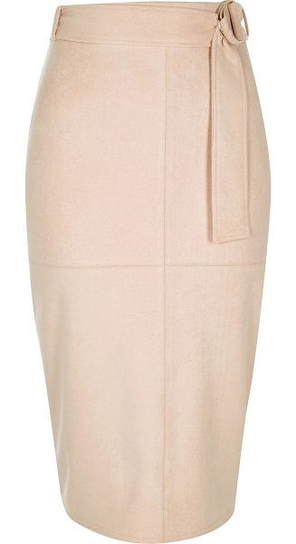 River Island light pink faux suede belted pencil skirt in pink - Faux suede Pencil skirt High waisted Belted