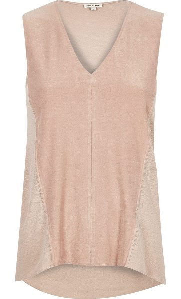 River Island light pink faux suede sleeveless top in pink