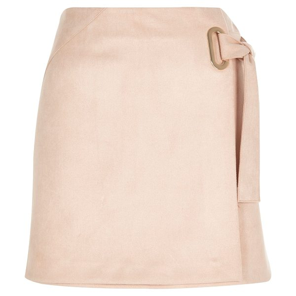 River Island light pink faux suede wrap skirt in pink - Faux suede Wrap design Mini length Back zip fastening...