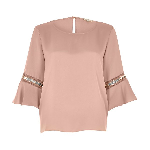 RIVER ISLAND nude cord insert trumpet sleeve top - Relaxed fit Round neckline Flared sleeve with cord...