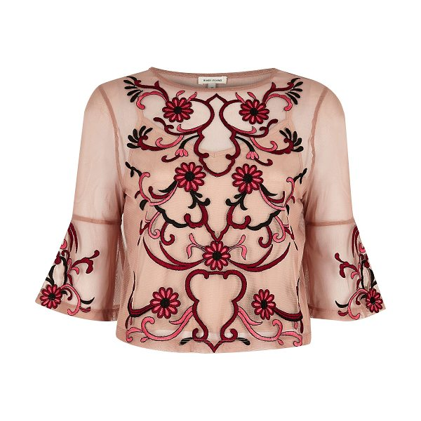 River Island light pink floral embroidered top in pink
