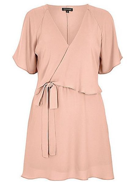 River Island light pink cold shoulder tea dress in pink - Woven crepe fabric Frilly overlayer V-neckline Cold...