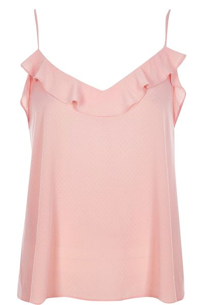 RIVER ISLAND blush pink frilly jacquard cami top - Jacquard fabric Relaxed fit Frilly neckline Our model...