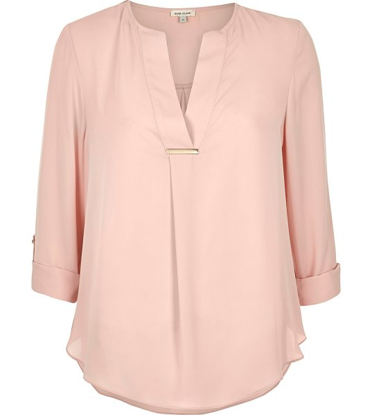 River Island light pink gold trim blouse in pink - Lightweight fabric Gold trim Relaxed fit V-neck Turn-up...
