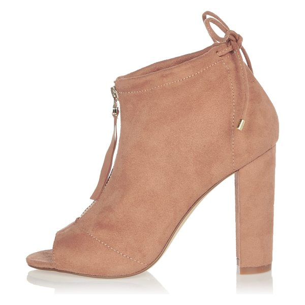 River Island light pink heeled shoe boots in pink - Faux suede upper Peep toe Zip front Lace detail Block...