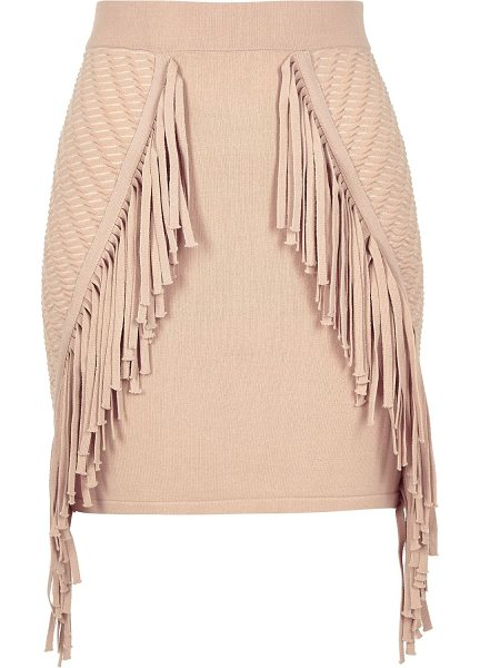 River Island light pink knitted fringed mini skirt in pink - Knitted High waisted Fringed trim Mini length Our model...