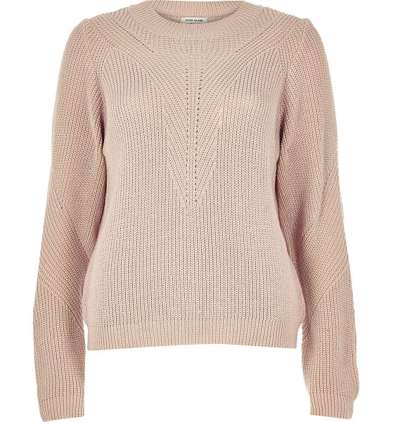 RIVER ISLAND light pink knit zip back sweater - Chunky knit Panelled pattern Slouchy fit Crew neck Long...