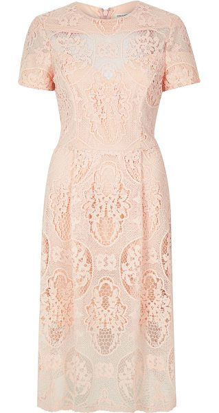 River Island light pink lace midi dress in pink - Lace fabric Fitted waist Midi length Round neck Short...