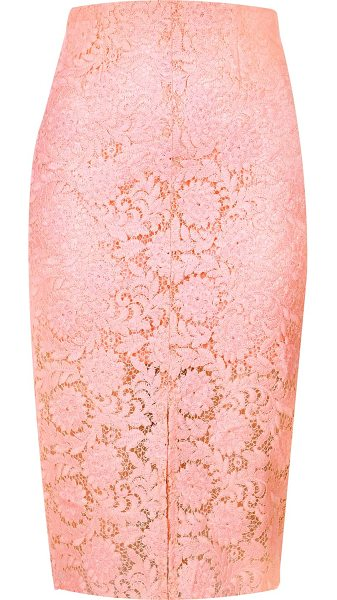 River Island light pink lace pencil skirt in pink - Woven lace Fitted High waisted Split front Knee length...