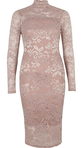 River Island light pink lace turtleneck bodycon dress in pink - Lace panelling Bodycon fit High neckline Long sleeve...