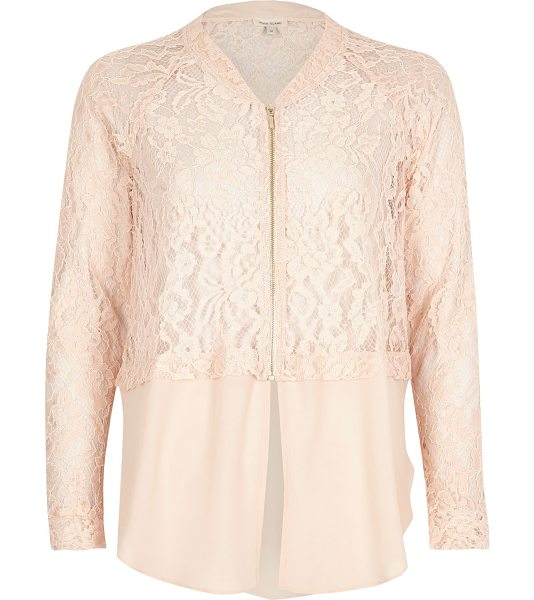 River Island light pink lace woven hem bomber jacket in pink - Lace bomber jacket Relaxed fit Long sleeve Zip front...