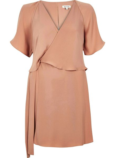 RIVER ISLAND light pink layered dress - Twill Cinched at the waist V-neck Short sleeve Overlaying fabric