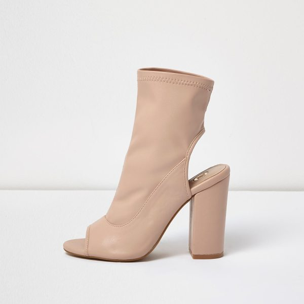 River Island light pink peeptoe block heel shoe boots in pink - Stretchy faux suede upper Stitch detail Open heel Open...