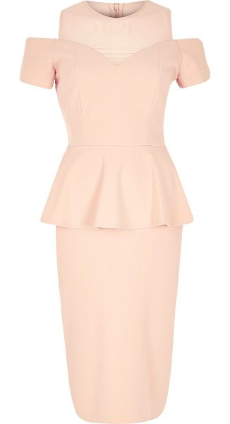River Island light pink peplum dress in pink