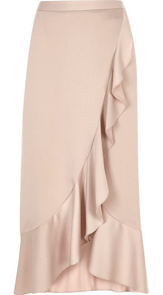 River Island light pink ruffle maxi skirt in pink - Woven fabric with satin finish Asymmetric soft ruffle...