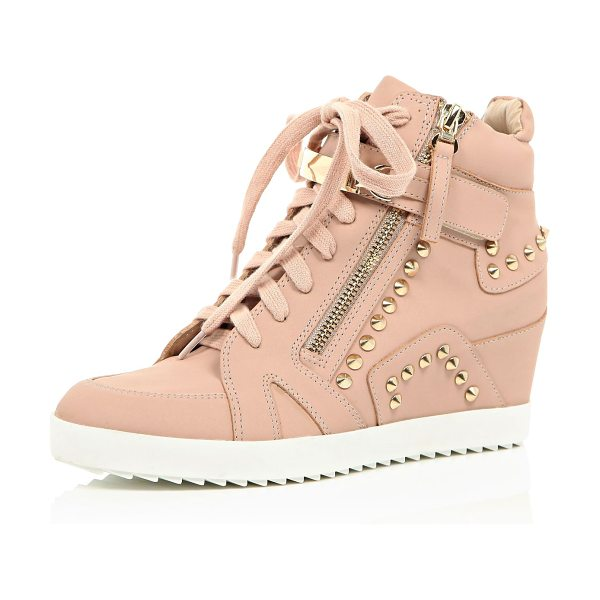 River Island light pink studded wedge high top sneakers in pink - Leather-look fabric Round toe Lace-up front Side zip...