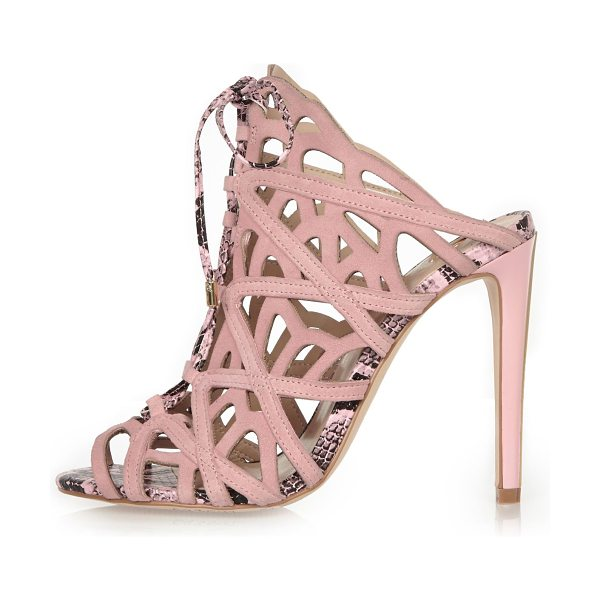 River Island light pink suede caged tie-up heels in pink - Suede upper Caged design Lace-up front Slim stiletto...