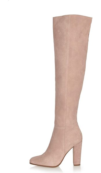 River Island light pink suede high leg heeled boots in pink - Premium suede fabric High leg with open back seam Side...