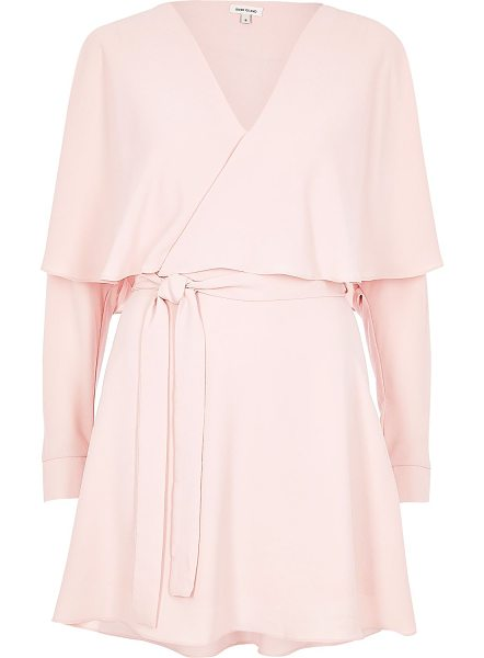 River Island blush pink wrap cape dress in pink - Soft jersey fabric V-neckline Long sleeve Tied waist...