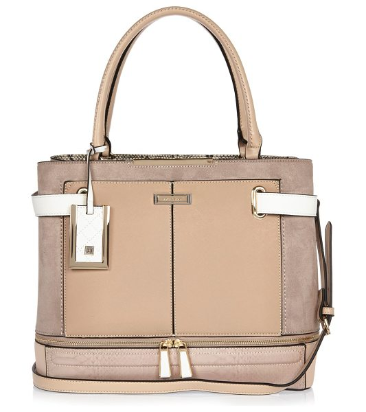 River Island nude panel boxy tote bag in nude - Mixed fabric panels Top handles Adjustable shoulder...