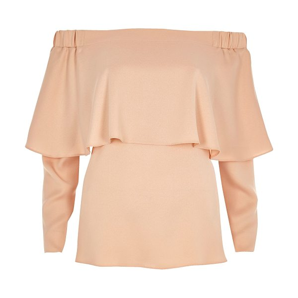 RIVER ISLAND nude deep frill bardot top - Lightweight fabric Deep frill detail Relaxed fit Bardot...