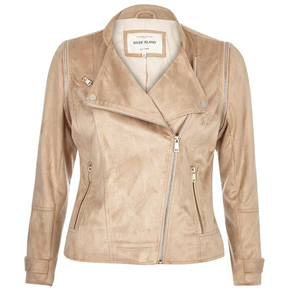 River Island nude faux suede biker jacket in nude - Faux suede Fitted Asymmetric zip front Long sleeves Two...