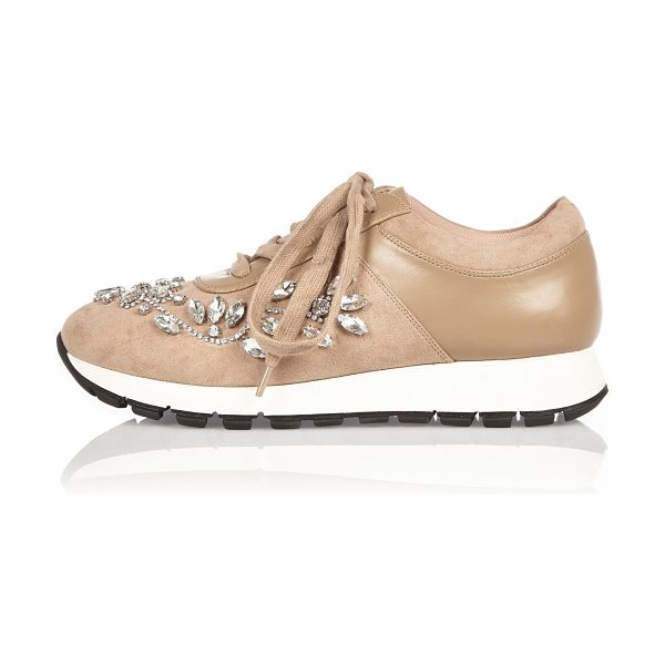 River Island nude floral embellished sneakers in nude - Faux suede upper Floral embellishment Round toe Lace-up...
