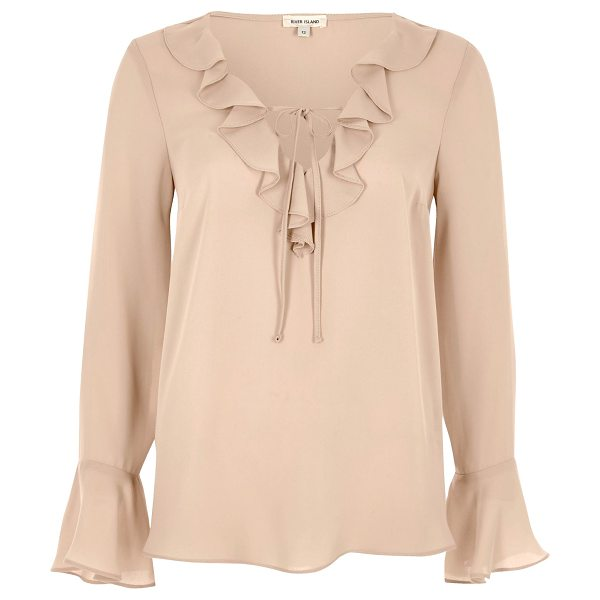 River Island nude frill blouse in nude - Lightweight fabric Relaxed fit Frill trim along neckline...