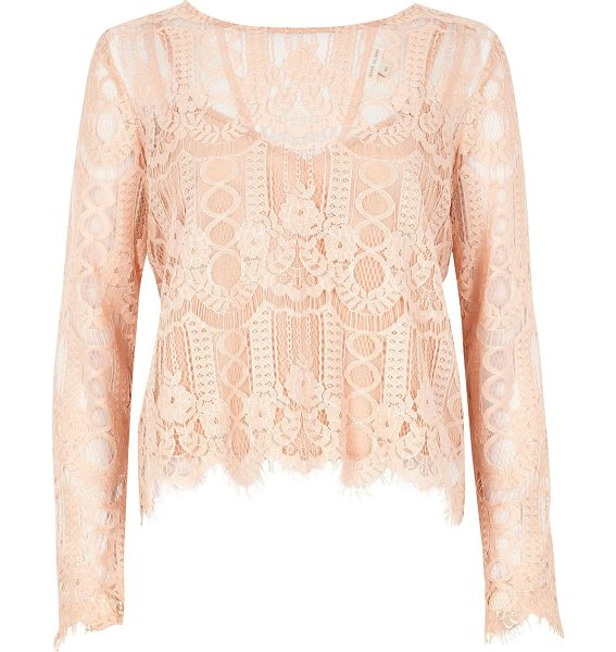 River Island nude lace top in nude - Delicate lace Cami slip underlayer Round neck Long...