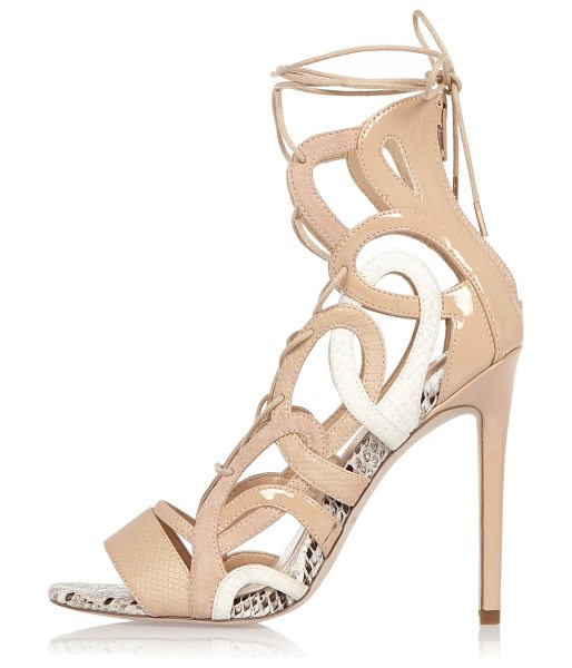 River Island nude lace-up caged heels in nude