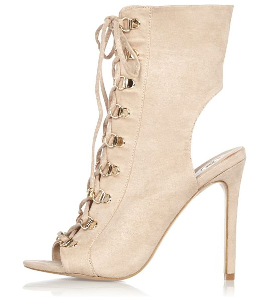 River Island nude lace-up shoe boots in nude