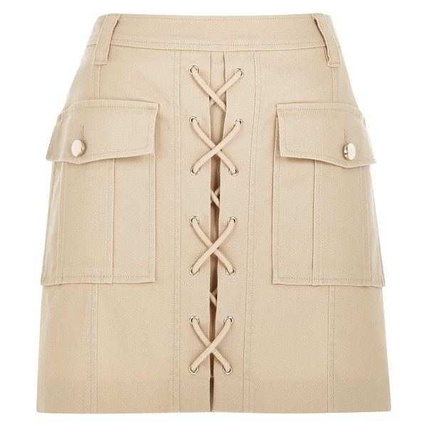 River Island nude lace-up utility mini skirt in nude - Woven A-line Lattice lace-up front Two large utility...
