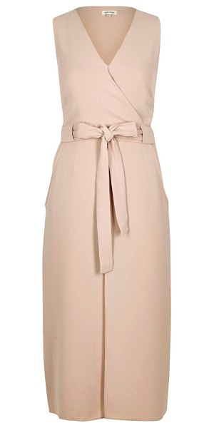 RIVER ISLAND nude layered wrap dress - Textured crepe Fitted waist V-neckline Sleeveless Double...