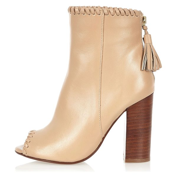 River Island nude leather whipstitch heeled shoe boots in nude - Le ather upper Open peep toe High ankle design Zip back...