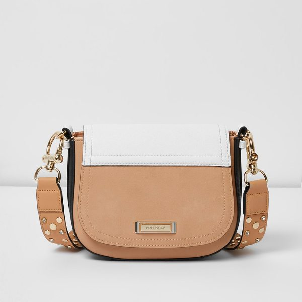 River Island nude panel stud strap saddle bag in nude - Smooth faux leather panels Flap over front Embellished...